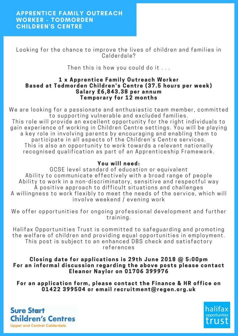 Apprentice Job May 18 - Halifax Opportunities Trust